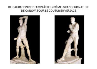 RESTAURATION DE DEUX PLÂTRES XIXÈME, GRANDEUR NATURE DE CANOVA POUR LE COUTURIER VERSACE
