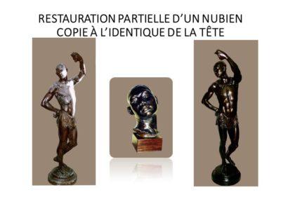 RESTAURATION PARTIELLE D'UN NUBIEN - COPIE À L'IDENTIQUE DE LA TÊTE